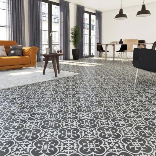 Carrelage Sol Et Mur Forte Carreau De Ciment Noir Et Blanc Gatsby Floral L 20 X Flooring Backyard Seating Bathroom Design Layout