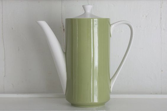 Retro Coffee Pot Vintage Mikasa Green and White by TheBeetlesKnees #CPirishluck