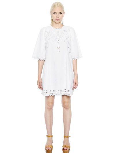 ISABEL MARANT ÉTOILE - EMBROIDERED COTTON POPLIN DRESS - WHITE