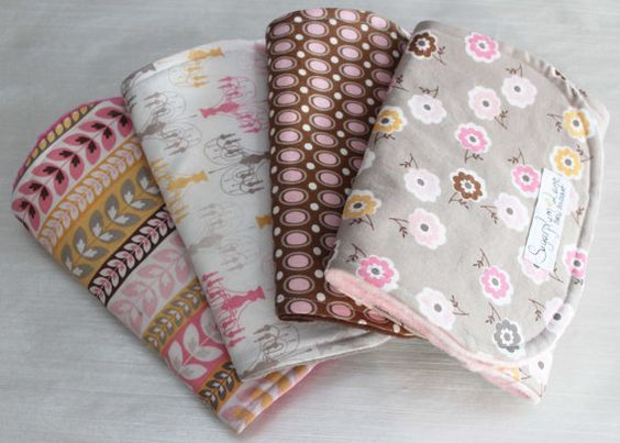Baby Girl Burp Cloth Set of 4 Daisy Cottage Grey and Light Pink with Minky Back on Etsy, $36.00