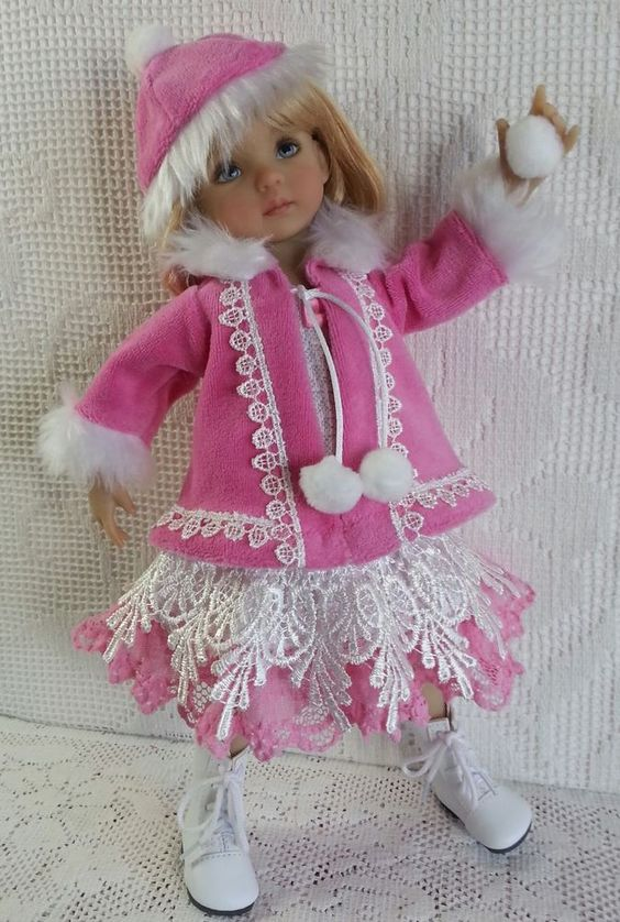 SOLD - Salstuff UK, Coat / Jacket, Dress, Hat & Snowball for Little Darling, D. Effner 13 Doll