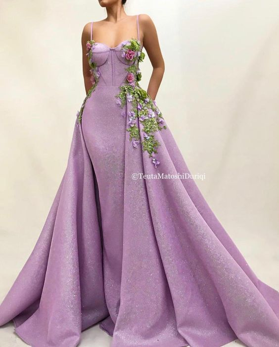 Details - Lavender dress color - 3D MeshNet glittery fabric - Handmade Embroidered flowers with crystals and green leaves - Two-in-one TMD gown - For parties and special occasions