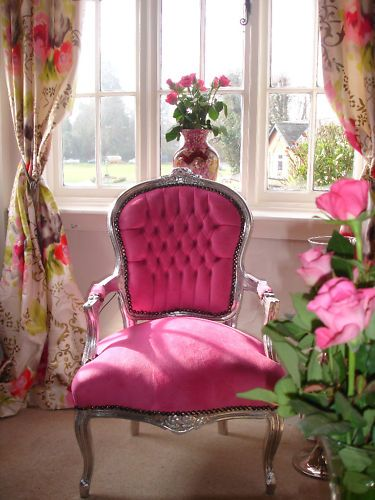 French louis shabby pink faux suede chic salon chair for Shabby chic salon