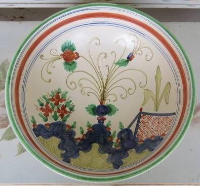 HUGE Vintage Italian Art Pottery Pasta Salad Serving Bowl Tuscany San Gimignano