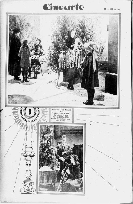 Norma Shearer, in the second still on the set with director Benjamin Christense, in The Devil's Circus (1926) - (CINEARTE, December 22, 1926, Rio de Janeiro, Brazil)