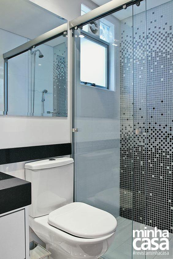 Banheiro com pastilhas banheiros lavabos pinterest for Modelos de apartamentos pequenos modernos
