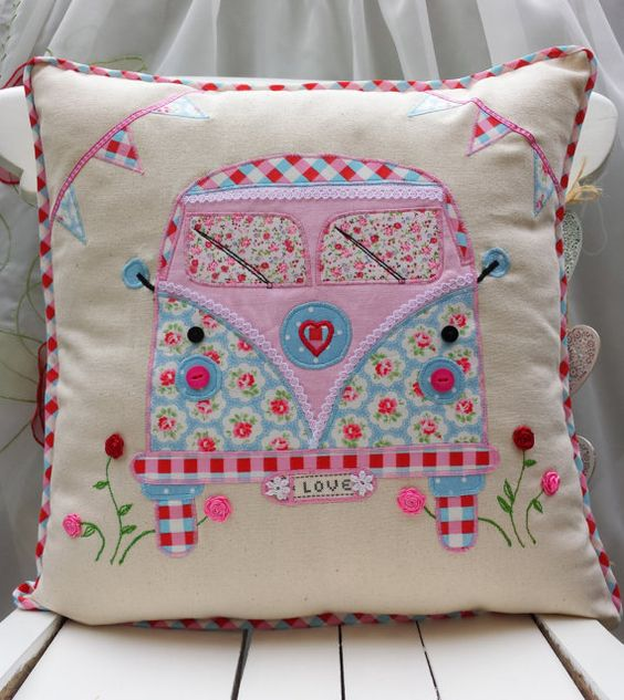 "Camper Van Pillow Cushion cover Cath Kidston Linen Other Fabric Home Décor Unique Handmade Applique Birthday gift 16""x16"":"