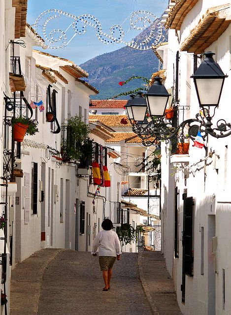 Colourful street scene in Altea, Costa Blanca, Spain