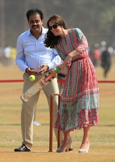 "For a more relaxed look while playing cricket in one Mumbai's poorest areas, the Duchess wore a laidback summer ""Gulrukh"" dress by Mumbai-born designer Anita Dongre that retails for $236 (£167) on her website.:"