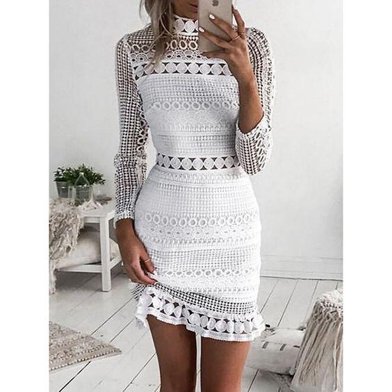 #Wonrika #Womenswear  Crochet #Lace Hollow Out Sheath #Dress Buy Now