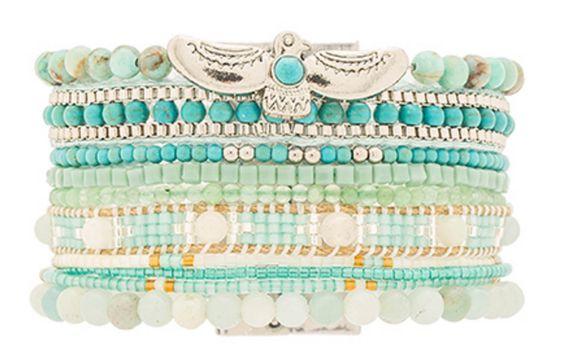 Aqua Beaded Stack Bracelet