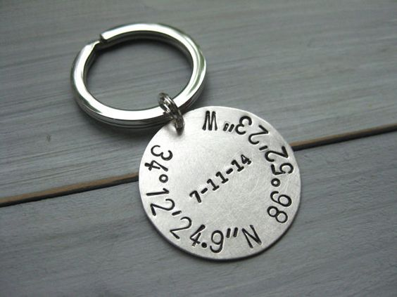 925 Sterling Silver Latitude Longitude Keychain by ESDesigns14
