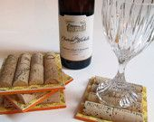 Wine Cork Coasters With Aqua and Brown Polka Dot Ribbon