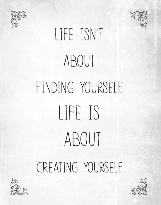 Life isn't about finding yourself life is about creating yourself word art print poster black white motivational quote inspirational words of wisdom motivationmonday Scandinavian fashionista fitness inspiration motivation typography home decor
