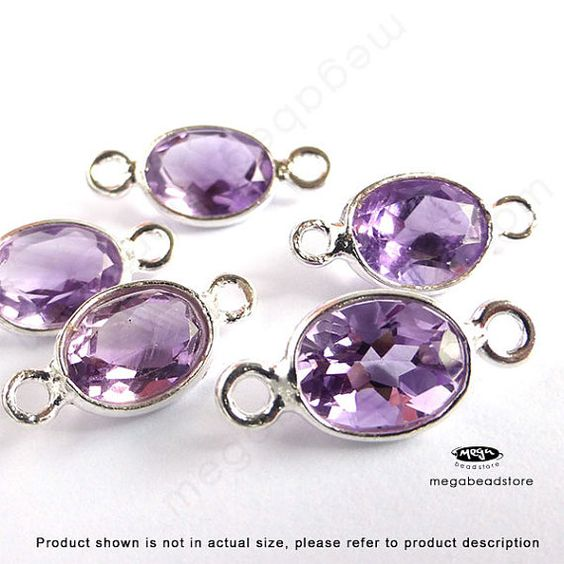 14mm 8mm Stone Amethyst natural Sterling Silver by MegaBeadStore
