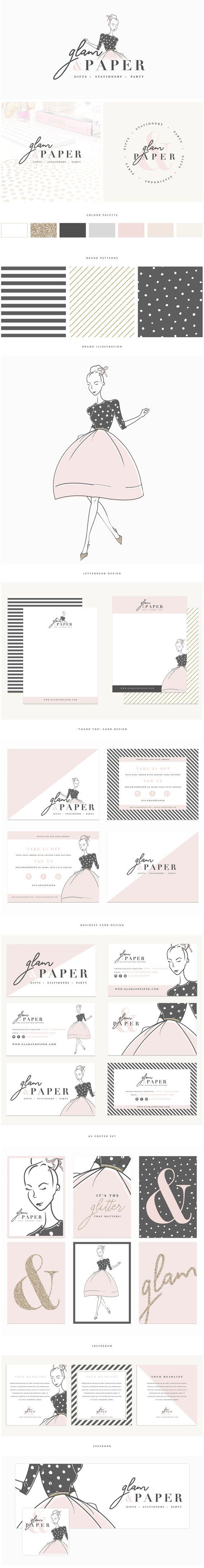 www.brandmebeautiful.co.uk | enquiries@brandmebeautiful.co.uk | Glam & Paper Rebrand #branding #branddesign #black #pink #gold #glitter #logo #design