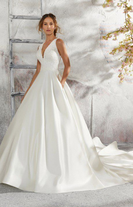 Mori Lee Bridal 5684 Is A Marvelous Satin Ballgown This Gown Features A Beautiful Lace Bodice With Images Ball Gown Wedding Dress Wedding Dresses Satin Ball Gowns Wedding
