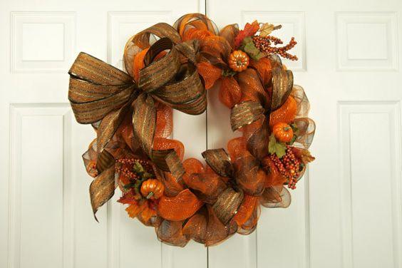 Pumpkin Harvest Deco Mesh Wreath by SouthernDoorWreaths on Etsy, $75.00