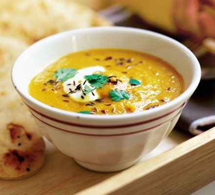 Spiced carrot & lentil soup - A delicious, spicy soup, packed full of iron and low fat to boot. It's ready in under half an hour