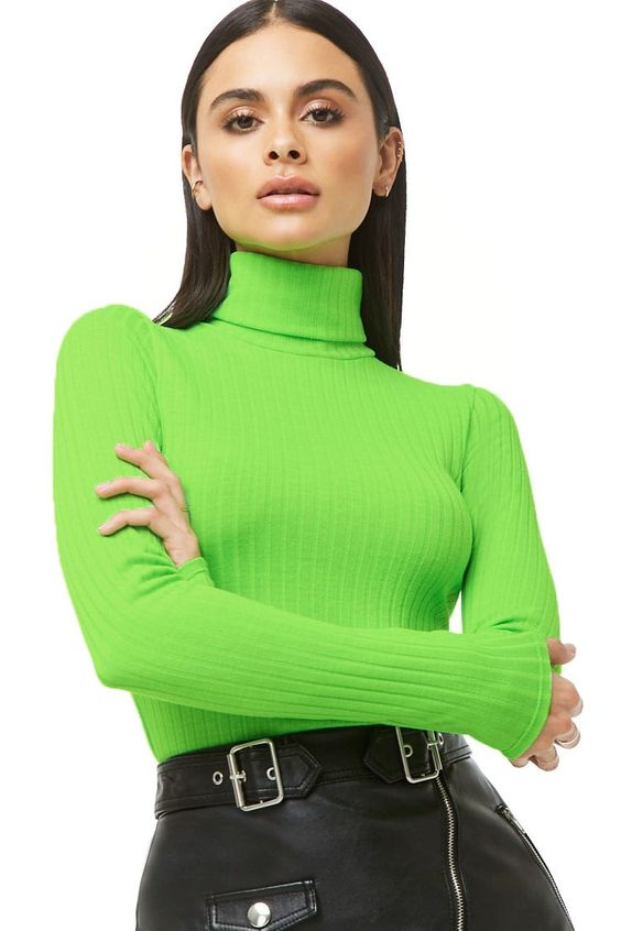 NEON GREEN Ribbed Turtleneck Top