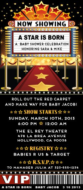 Roll out the red carpet...A Star will be born! This fantastic Baby Shower VIP ticket invitation is the perfect choice if you are planning a Hollywood themed Baby Shower. How adorable is this ticket with the red carpet, marquee, and movie star lights? www.delightinvite.com