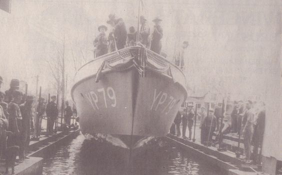 YP 79 is shown as it is launched at Alexandria Bay. This series of boats was construced at Hutchinson's Boat Works.