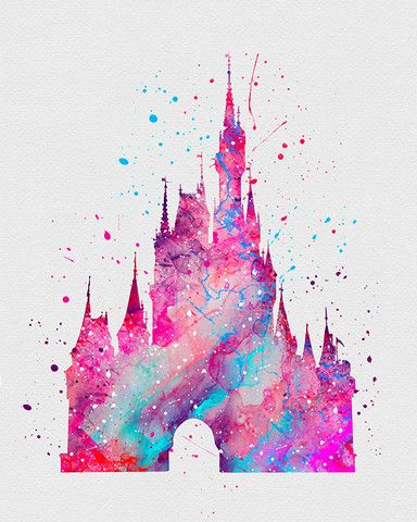 Cinderella Castle 2 Watercolor Art - VIVIDEDITIONS: