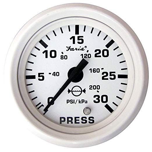 """Faria Dress White 2/"""" Oil Pressure Gauge 80 PSI"""