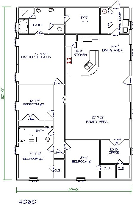 Texas Barndominiums, Texas Metal Homes, Texas Steel Homes, Texas Barn Homes, Barndominium Floor Plans  --  I really like this layout and size. I would get rid of the wall making a hallway and put pocket doors to the office that could open up the whole room.