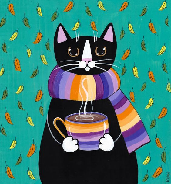 Autumn Coffee Cat Original Folk Art Painting by KilkennycatArt (Ryan Conners):
