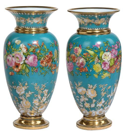 FRENCH TURQUOISE-GROUND OPALINE VASES  CIRCA 1830-1840, BACCARAT