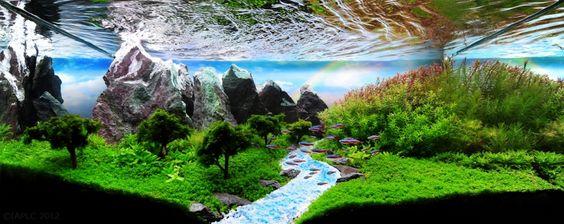 山と川の風景画 アクアリウムアート