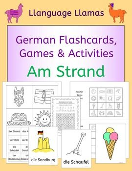 German  At the beach - Am Strand  summer flash cards, games and activities. This pack contains resources to teach 16 German words for talking about the beach, great for teaching elementary students. The summer vocabulary set includes: der Strand, das Meer, der Ball, der Eimer, die Schaufel, die Sandburg, der Badeanzug, die Badeshorts, der Hut, die Sonne, die Eiscreme, das Boot, das Handtuch, der Sonnenschirm, die Muschel, die Krabbe.