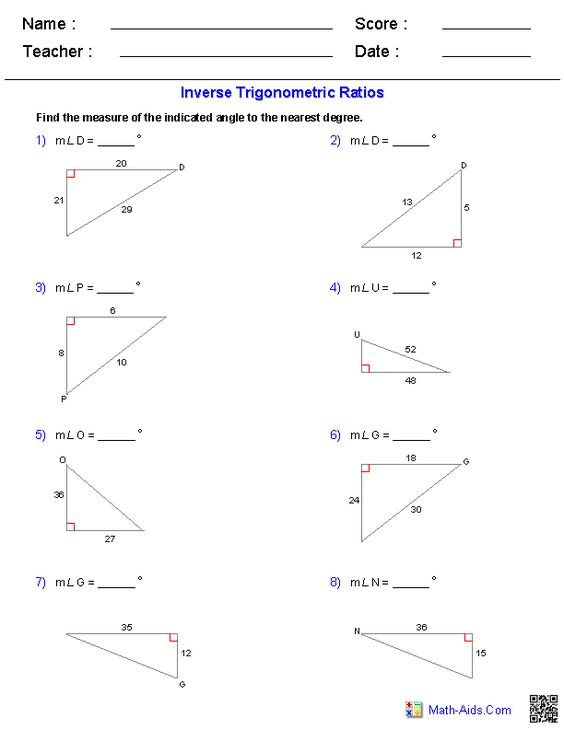 Printables Trig Ratios Worksheet high schools worksheets and on pinterest inverse trigonometric ratios worksheets
