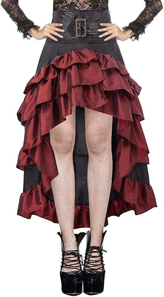 STEAMPUNK BUSTLE SKIRT OUTFIT COSTUME LADIES VICTORIAN BLACK /& RED