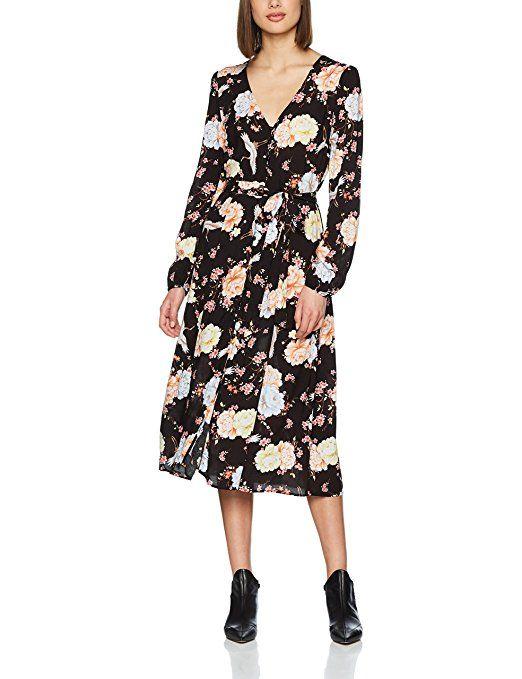 New Look Damen Kleid F Printed Lslv Midi Shirt Drs, Schwarz (Black
