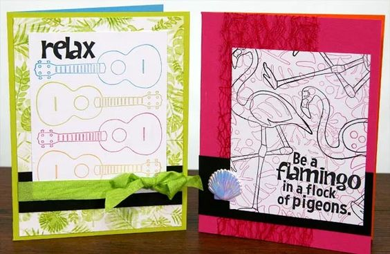 Create a 10-pack of cheerful cards with the Paradise Club Stamp kit--including a cool pop-up style! #clubscrap