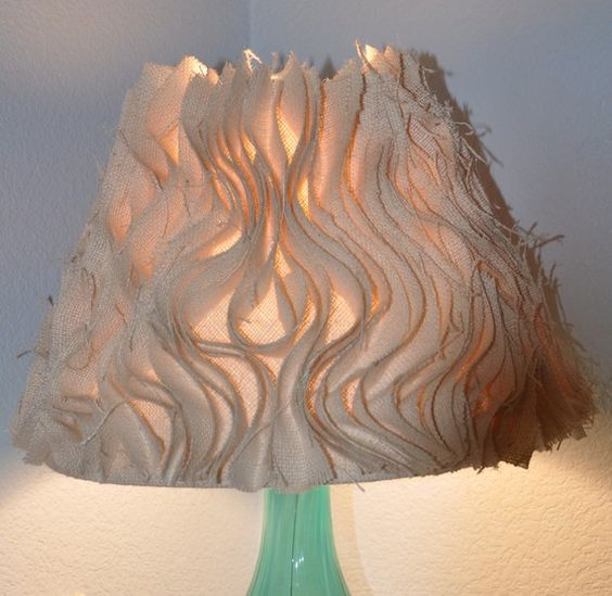 cool lamp shade: Wave Lampshade, Cottage Ideas, Lampshades, Ruffle Lamp Shades, Burlap Ruffle, Cool Lamps, Lampshade Ideas, Craft Ideas