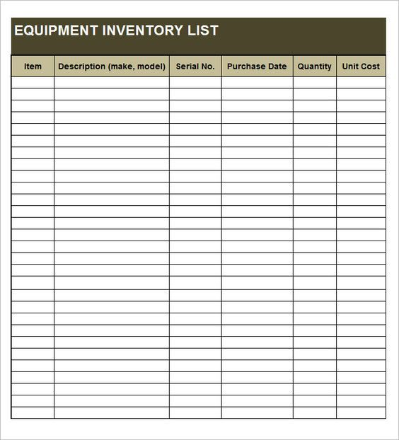 Equipment Inventory List Templates With Images Inventory