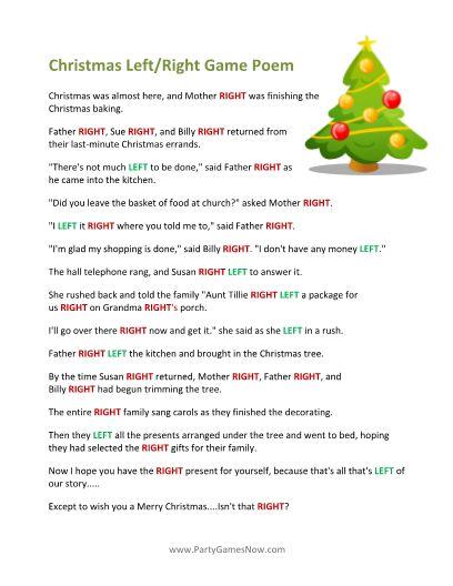 Printable Left/Right Christmas Game Poem | christmas | Pinterest ...