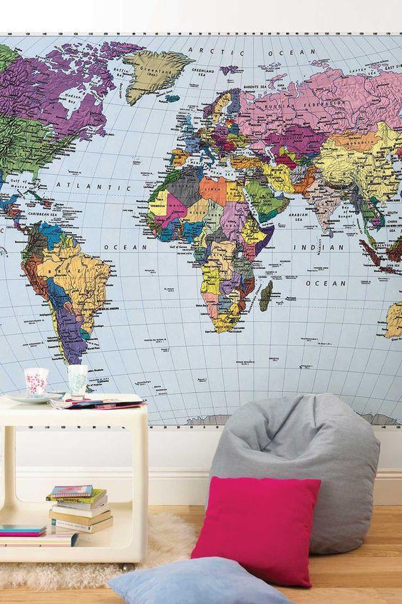 Mapa mural del mundo mapas del mundo and mapas on pinterest - Papel pintado mapa del mundo ...