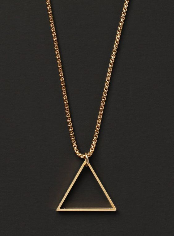 14k Gold Filled Chain And Triangle Necklace For Men Gold Etsy Gold Chains For Men Chains For Men Triangle Necklace