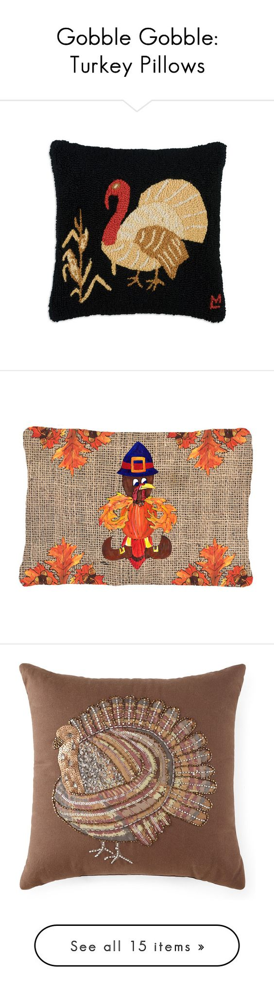 """Gobble Gobble: Turkey Pillows"" by polyvore-editorial ❤ liked on Polyvore featuring turkeypillows, home, outdoors, outdoor decor, outdoor thanksgiving decor, fleur de lis outdoor decor, fleur de lis garden decor, home decor, throw pillows and jcpenney home"