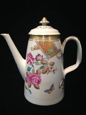 "Mottahedeh Lowestsoft Rose Vista Allegre Floral Tea Coffee Pot 9 ""More Available"