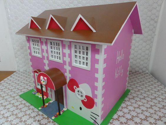 Casa em madeira (mdf), Hello Kitty.