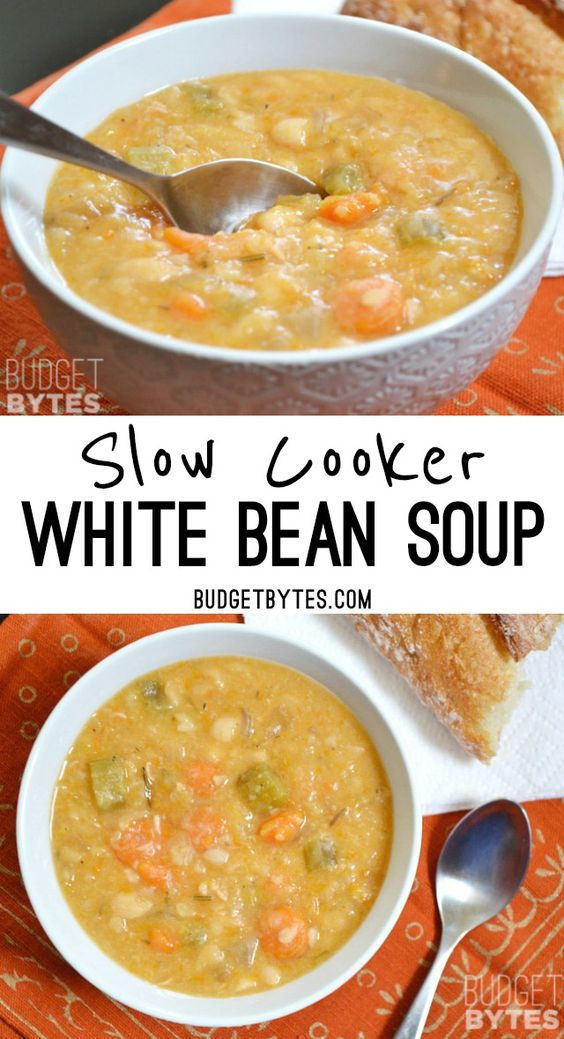 This Slow Cooker White Bean Soup practically makes itself! Just throw everything into the pot and press go to end up with a thick, flavorful, vegan soup. BudgetBytes.com