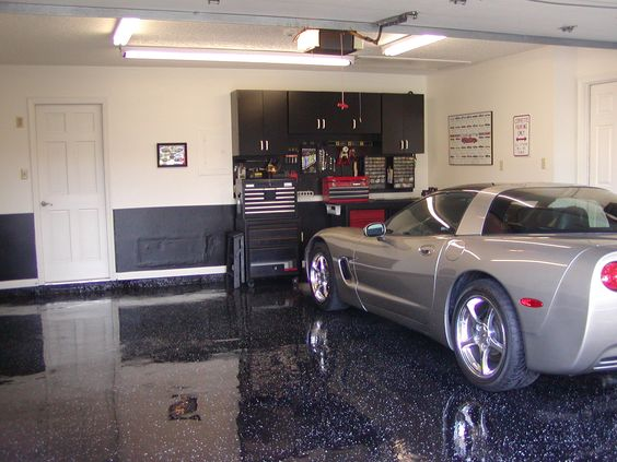 Garage Black Metalic Floor Epoxy Coating Garage With Grey