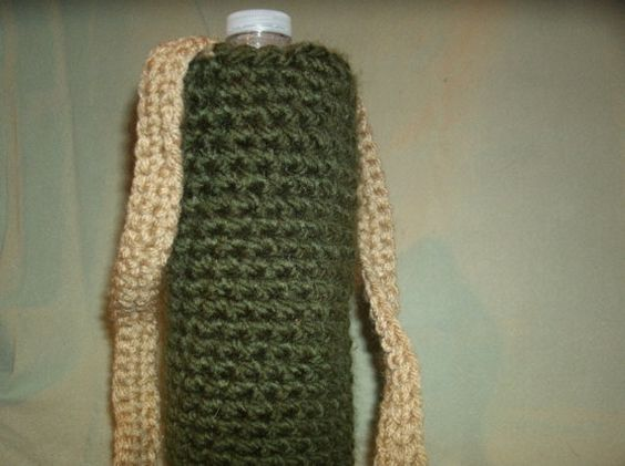 Forest Green Crochet Water Bottle Holder with by CreationsbyMaris