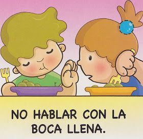 No Hablar Con La Boca Llena Buenos Modales Para Niños Modales En La Mesa Habitos De Higiene