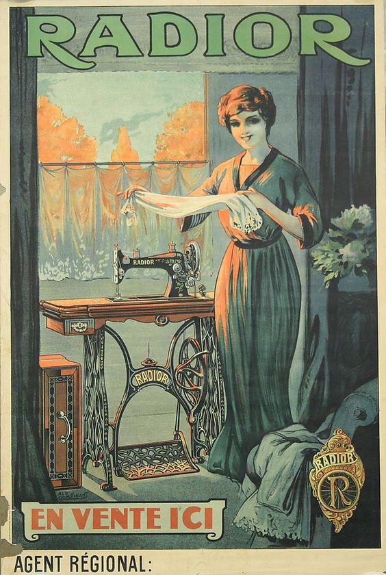 Affiche originale, Radior, machine à coudre à pédale. Par Albert Dorfinant.